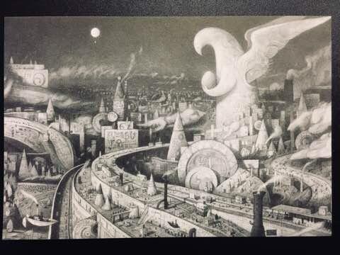 『アライバル』:気球と町並み(2004~2006年)ポストカードより